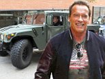 Arnold Schwarzenegger drives his eco-friendly Hummer to lunch in LA! Arnold was seen leaving one of his favourite lunch places in LA. Arnie wearing a leather jacket and shorts was seen signing autographs for fans as he left the popular eatery in Brentwood. Arnie smiled and waved as he drove himself around in LA. His hummer actually runs on Vegetable oil.\n\nPictured: Arnold Schwarzenegger\nRef: SPL888091  111114  \nPicture by: Splash News\n\nSplash News and Pictures\nLos Angeles: 310-821-2666\nNew York: 212-619-2666\nLondon: 870-934-2666\nphotodesk@splashnews.com\n