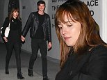 Hollywood, CA - í50 Shades of Greyí actress Dakota Johnson and her boyfriend Matthew Hitt hold hands as they leave Pikey Bar.  The cute couple matched in all black ensembles for their date night in Hollywood. \nAKM-GSI           November 11, 2014\nTo License These Photos, Please Contact :\n \n Steve Ginsburg\n (310) 505-8447\n (323) 423-9397\n steve@akmgsi.com\n sales@akmgsi.com\n \n or\n \n Maria Buda\n (917) 242-1505\n mbuda@akmgsi.com\n ginsburgspalyinc@gmail.com