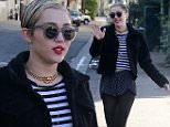 November 16, 2014: Miley Cyrus mixes stripes with polka dot in her clever ensemble as she runs errands in Studio City, CA.\nMandatory Credit: Fresh/INFphoto.com Ref.: infusla-284