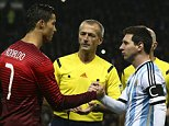 epa04494789 Portugal's Cristiano Ronaldo (2-L) and Argentina's Lionel Messi (2-R) shake hands before the international friendly soccer match between Argentina and Portugal at Old Trafford in Manchester, Britain, 18 November 2014.  EPA/JOSE SENA GOULAO