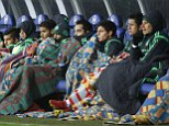 Mexico's players follow the game during their international friendly soccer match against Belarus at Borisov-Arena stadium in Borisov, Belarus, Tuesday, Nov. 18, 2014. (AP Photo/Sergei Grits)