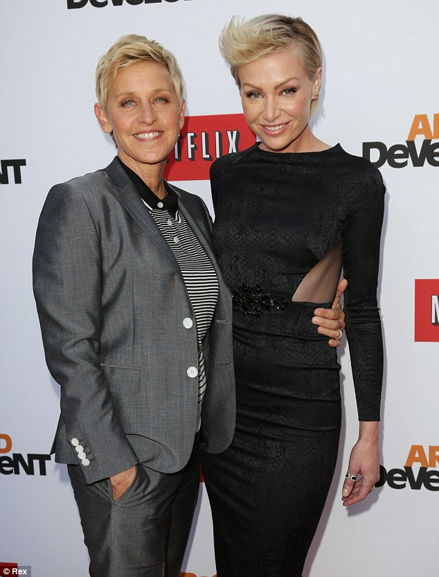 Good times: Ellen and Portia (pictured here in April 2013) enjoyed recreating the infamous simulated sex scene for their mock card