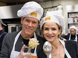 """NEW YORK, NY - NOVEMBER 19:  Kevin Bacon (L) and wife Kyra Sedgwick serve holiday meals for New Yorkers in need during Food Bank For New York City's """"Thankful To Give"""" holiday campaign event at the Food Bank for New York City's Community Kitchen of West Harlem on November 19, 2014 in New York City.  (Photo by D Dipasupil/Getty Images)"""