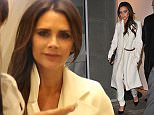 Victoria Beckham is seen at her store on dover street mayfair, the fashion designer was seen shooting a video inside the shop wearing an all white outfit, as she left the store she waved and smiled at the cameras. 21 November 2014. Please byline: Vantagenews.co.uk