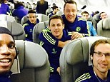 Didier Drogba posted a picture of Chelsea's players looking happy as they flew back from Germany