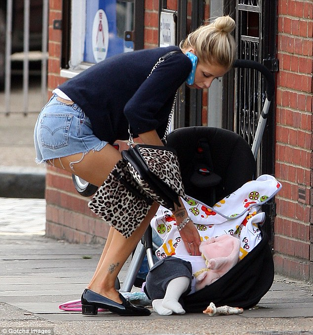 Sore point: Katie has consistently referred to images of Peaches spilling baby Astala while out in London