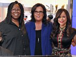 """THE VIEW - (11.5.14) Guests include Oscar De La Hoya, Stevie Wonder and Lea Delaria on ABC's """"The View.""""   """"The View"""" airs Monday-Friday (11:00 am-12:00 pm, ET) on the ABC Television Network.    \n(Photo by Lou Rocco/ABC via Getty Images) *** Local Caption *** STEVIE WONDER; WHOOPI GOLDBERG; ROSIE O'DONNELL; ROSIE PEREZ; NICOLLE WALLACE; LEA DELARIA\nSTEVIE WONDER, WHOOPI GOLDBERG, ROSIE O'DONNELL, ROSIE PEREZ, NICOLLE WALLACE, LEA DELARIA"""