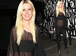 Los Angeles, CA - Actress, Tara Reid, spotted at Craigs Restaurant wearing a black sheer blouse, black crop top, black leather pants, and black booties.    AKM-GSI       November 30, 2014 To License These Photos, Please Contact : Steve Ginsburg (310) 505-8447 (323) 423-9397 steve@akmgsi.com sales@akmgsi.com or Maria Buda (917) 242-1505 mbuda@akmgsi.com ginsburgspalyinc@gmail.com