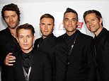 L-R Howard Donald, Mark Owen, Gary Barlow, Robbie Williams and Jason Orange of Take That pose backstage prior to performing at the National Movie Awards 2011 at Wembley arena on May 11, 2011 in London, England.   LONDON, ENGLAND - MAY 11 (Photo by Dave J Hogan/Getty Images)