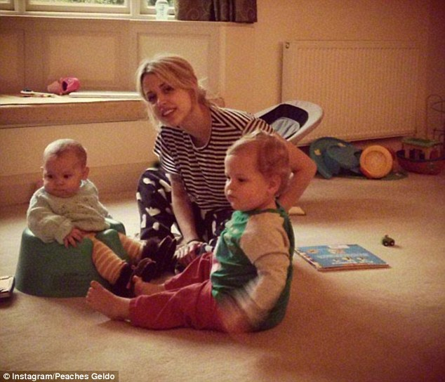 Play-time: Peaches Geldof with her two sons, Astala (L) and Phaedra (R)