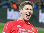 epaselect epa04512353 Liverpool's Steven Gerrard celebrates his 2-1 goal during the English Premier League football match played between Leicester City FC and LiverpoolFC at King Power Stadium, Leicester, Britain, 02 December 2014.  EPA/KIERAN GALVIN DataCo terms and conditions apply. http//www.epa.eu/downloads/DataCo-TCs.pdf