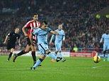 DECEMBER 3RD 2014 - SUNDERLAND V MANCHESTER CITY PREMIER LEAGUE Manchester City's Sergio Aguero scores 1-1 PIcture by Ian Hodgson/Daily Mail