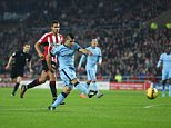 DECEMBER 3RD 2014 - SUNDERLAND V MANCHESTER CITY PREMIER LEAGUE Manchester City's Sergio Aguero scores 1-1 PIcture by Ian Hodgson/Daily Mail