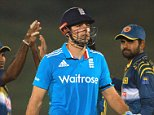 Mandatory Credit: Photo by Sanka Vidanagama/REX (4273802ak)  Alastair Cook (C), captain of England walks back to the pavilion after his dismissal  Sri Lanka v England, One Day International cricket match, Mahinda Rajapaksa International Stadium, Hambantota, Sri Lanka - 03 Dec 2014