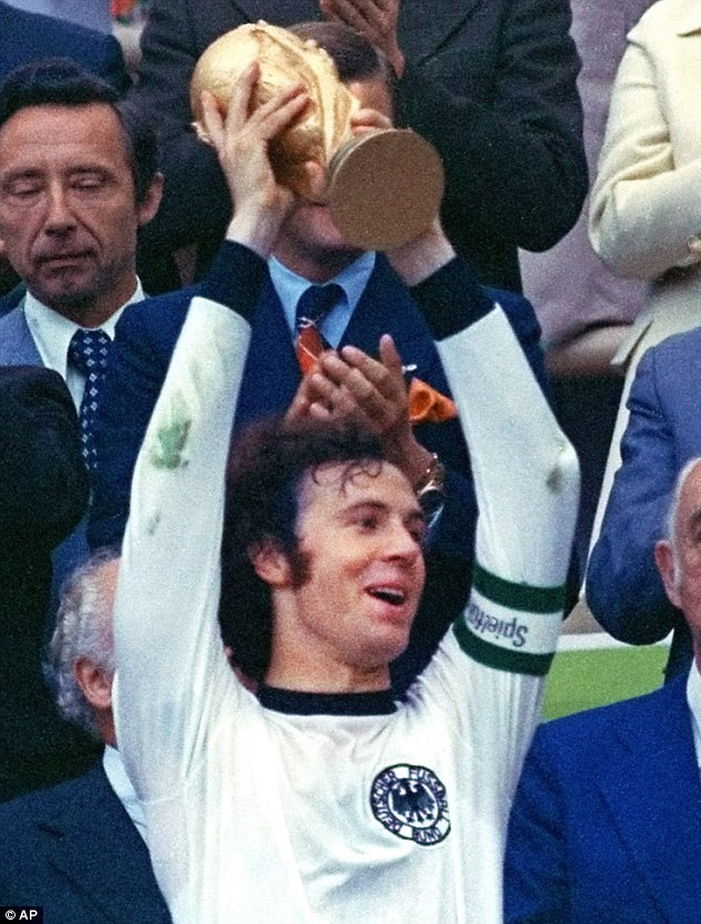Top of the world: Beckenbauer captained West Germany to the World Cup on home territory in 1974