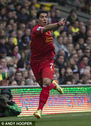 Goal getter: Luis Suarez celebrates against Norwich