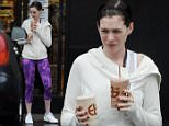 *** Not available for subscription clients  until after 22.00 on 031214 *** EXCLUSIVE ALLROUNDERActress Anne Hathaway sporting purple tights and sneakers as she gets ready to head for a workout with husband Adam Shulman in West Hollywood CA. The couple picked up organic juices at the famous EarthBar before getting their workout on a rainy day Featuring: Anne Hathaway, Adam Shulman Where: Reseda, California, United States When: 02 Dec 2014 Credit: Cousart/JFXimages/WENN.com **Only available for publication in UK**