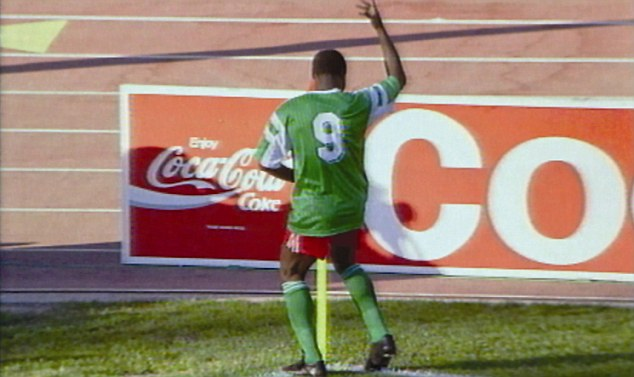 Dance star: Roger Milla was famed for his dance by the corner flag during the World Cup in 1990
