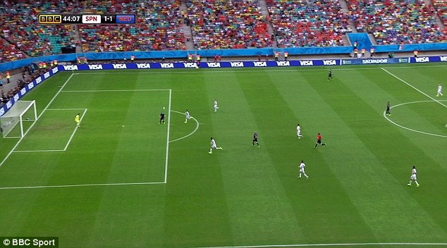 Step Five: With Ramos¿ marking now an afterthought, Van Persie is on his own as he reaches the edge of the area. But with Blind¿s ball coming in a couple of yards ahead of him he recognises that he needs to improvise