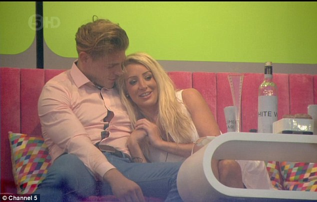 Cuddles: After being invited up to the pod, Tamara is heard telling the Essex boy it was 'best date' she'd ever had