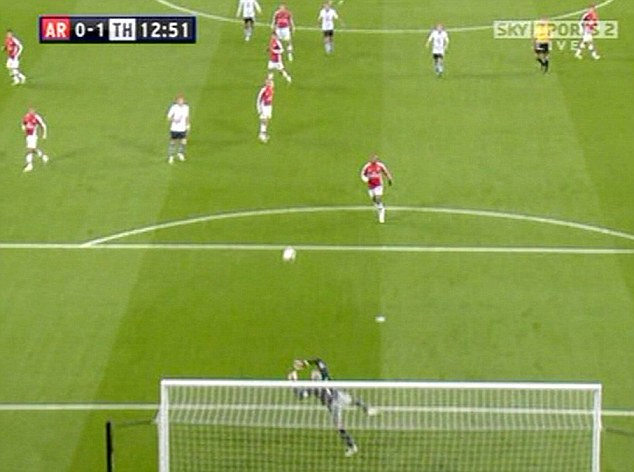 Stunner: Manuel Almunia was left with no chance as Bentley's dipping volley screamed past him