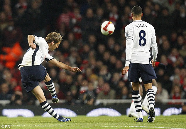 Letting flow: Bentley scored a stunning volley against former club Arsenal in 2008