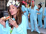 Supermodel Nicole Trunfio celebrats her baby shower with best friends Jessica Hart and Jessica Gomes by eating pizza from Neapolitan Pizza Truck, wearing blue onesies, and drinking juice out of little baby bottles\n\nPictured: Nicole Trunfio, Jessica Hart, Jessica Gomes\nRef: SPL904297  031214  \nPicture by: XactpiX\n\nSplash News and Pictures\nLos Angeles: 310-821-2666\nNew York: 212-619-2666\nLondon: 870-934-2666\nphotodesk@splashnews.com\n