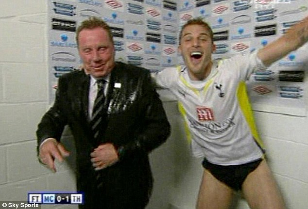 Wet: Bentley tipped water over Harry Redknapp in 2010 after Spurs clinched Champions League football