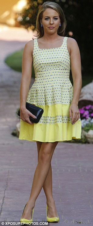 Shine bright: The Only Way is Essex star's number featured a simple dotty pattern and flared skirt