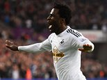 SWANSEA, WALES - NOVEMBER 29:  Wilfried Bony of Swansea City celebrates as he scores their first goal during the Barclays Premier League match between Swansea City and Crystal Palace at Liberty Stadium on November 29, 2014 in Swansea, Wales.  (Photo by Mike Hewitt/Getty Images)