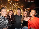 *** MANDATORY BYLINE TO READ: Syco / Thames / Corbis *** LittleMix arrive at The X Factor studios in London before the weekends live shows.   Credit: Jenkins/Syco/Thames/Corbis CORBIS jjuk_*James W Jenkins* jjenkins@splashnews.com  Pictured: Simon Cowell, LittleMix Ref: SPL905607  180713   Picture by: Jenkins / Syco / Thames / Corbis