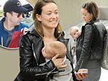 EXCLUSIVE. Coleman-Rayner. \nMaui, HI, USA. December 4th, 2014\nActress Olivia Wilde arrives at Maui Airport carrying her 7 month old son Otis in a pouch on her chest. The new mum was waiting for bags in a stylish leather jacket before heading off with a nanny that was looking after Otis on the flight from Los Angeles. Also present was Olivia's fiance Jason Sudeikis (Not pictured) who went off to get a hire car.\nCREDIT LINE MUST READ: Jeff Rayner/Coleman-Rayner\nTEL USA 001 310 474 4343\nTEL USA 001 323 687 8025\n