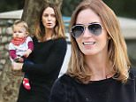 Beverly Hills, CA - Actress, Emily Blunt, seemed to be basking in motherhood as she took her daughter, Hazel, to Coldwater Park.  The British actress was seen smiling as she took her daughter around the park - from the swing to exploring the premises, Emily wanted to introduce everything to her adorable baby.  She was casually dressed in a long black shirt, black pants, and plain sneakers.  This is the first time the adorable mommy and daughter duo have been spotted at the park.\nAKM-GSI        December 5, 2014\nTo License These Photos, Please Contact :\nSteve Ginsburg\n(310) 505-8447\n(323) 423-9397\nsteve@akmgsi.com\nsales@akmgsi.com\nor\nMaria Buda\n(917) 242-1505\nmbuda@akmgsi.com\nginsburgspalyinc@gmail.com