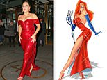 Lady Gaga channels Jessica Rabbit by wearing a dazzling red sequin dress in NYC\n\nPictured: Lady Gaga\nRef: SPL904986  041214  \nPicture by: XactpiX\n\nSplash News and Pictures\nLos Angeles: 310-821-2666\nNew York: 212-619-2666\nLondon: 870-934-2666\nphotodesk@splashnews.com\n