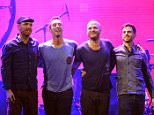 Musicians Jonny Buckland, Chris Martin, Will Champion and Guy Berryman of the band Coldplay pose onstage at the iHeartRadio Music Festival held at the MGM Grand Garden Arena on September 23, 2011 in Las Vegas, Nevada.  (Photo by Ethan Miller/Getty Images for Clear Channel)