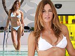 Kelly Bensimon shows off her bikini body in South Beach during Art Basel, while wearing a white Elizabeth Hurley bikini on her hotel rooftop pool.   Pictured: Kelly Bensimon Ref: SPL906007  051214   Picture by: Ralph Notaro / Splash News  Splash News and Pictures Los Angeles: 310-821-2666 New York: 212-619-2666 London: 870-934-2666 photodesk@splashnews.com