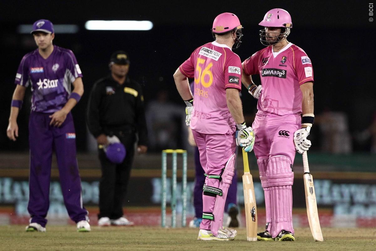 Scott Styris of the NORTHERN KNIGHTS with Daryl Mitchell of the NORTHERN KNIGHTS during match 9 of the Oppo Champions League Twenty20 between the Hobart Hurricanes and the Northern knights held at the Chhattisgarh International Cricket Stadium, Raipur, India on the 23rd September 2014  Photo by:  Deepak Malik / Sportzpics/ CLT20   Image use is subject to the terms and conditions as laid out by the BCCI/ CLT20.  The terms and conditions can be downloaded here:  http://sportzpics.photoshelter.com/