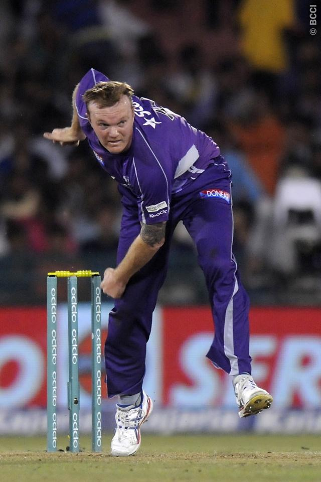 Doug Bollinger of Hobart Hurricanes bowls during match 9 of the Oppo Champions League Twenty20 between the Hobart Hurricanes and the Northern knights held at the Chhattisgarh International Cricket Stadium, Raipur, India on the 23rd September 2014  Photo by:  Pal Pillai / Sportzpics/ CLT20   Image use is subject to the terms and conditions as laid out by the BCCI/ CLT20.  The terms and conditions can be downloaded here:  http://sportzpics.photoshelter.com/gallery/CLT20-Image-Terms-and-Conditions-