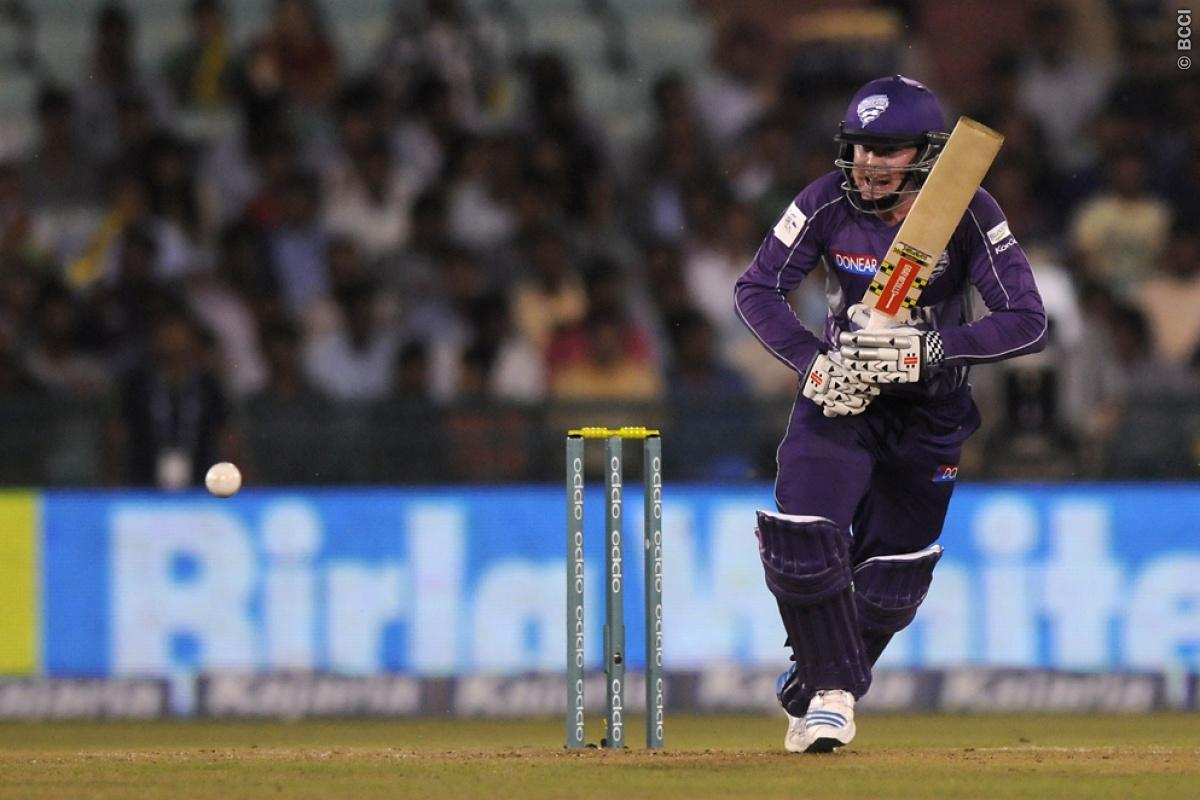 Ben Dunck of Hobart Hurricanes bats during match 9 of the Oppo Champions League Twenty20 between the Hobart Hurricanes and the Northern knights held at the Chhattisgarh International Cricket Stadium, Raipur, India on the 23rd September 2014  Photo by:  Pal Pillai / Sportzpics/ CLT20   Image use is subject to the terms and conditions as laid out by the BCCI/ CLT20.  The terms and conditions can be downloaded here:  http://sportzpics.photoshelter.com/gallery/CLT20-Image-Terms-and-Conditions-2014/