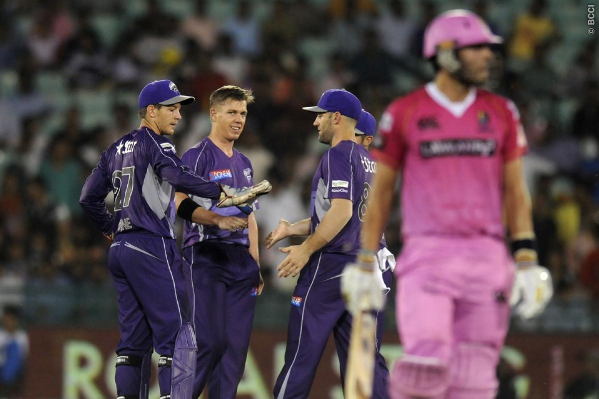 Xavier Doherty of Hobart Hurricanes celebrates the wicket of Daryl Mitchell of Northern Knights during match 9 of the Oppo Champions League Twenty20 between the Hobart Hurricanes and the Northern knights held at the Chhattisgarh International Cricket Stadium, Raipur, India on the 23rd September 2014  Photo by:  Pal Pillai / Sportzpics/ CLT20   Image use is subject to the terms and conditions as laid out by the BCCI/ CLT20.  The terms and conditions can be downloaded here:  http://sportzpics.phot