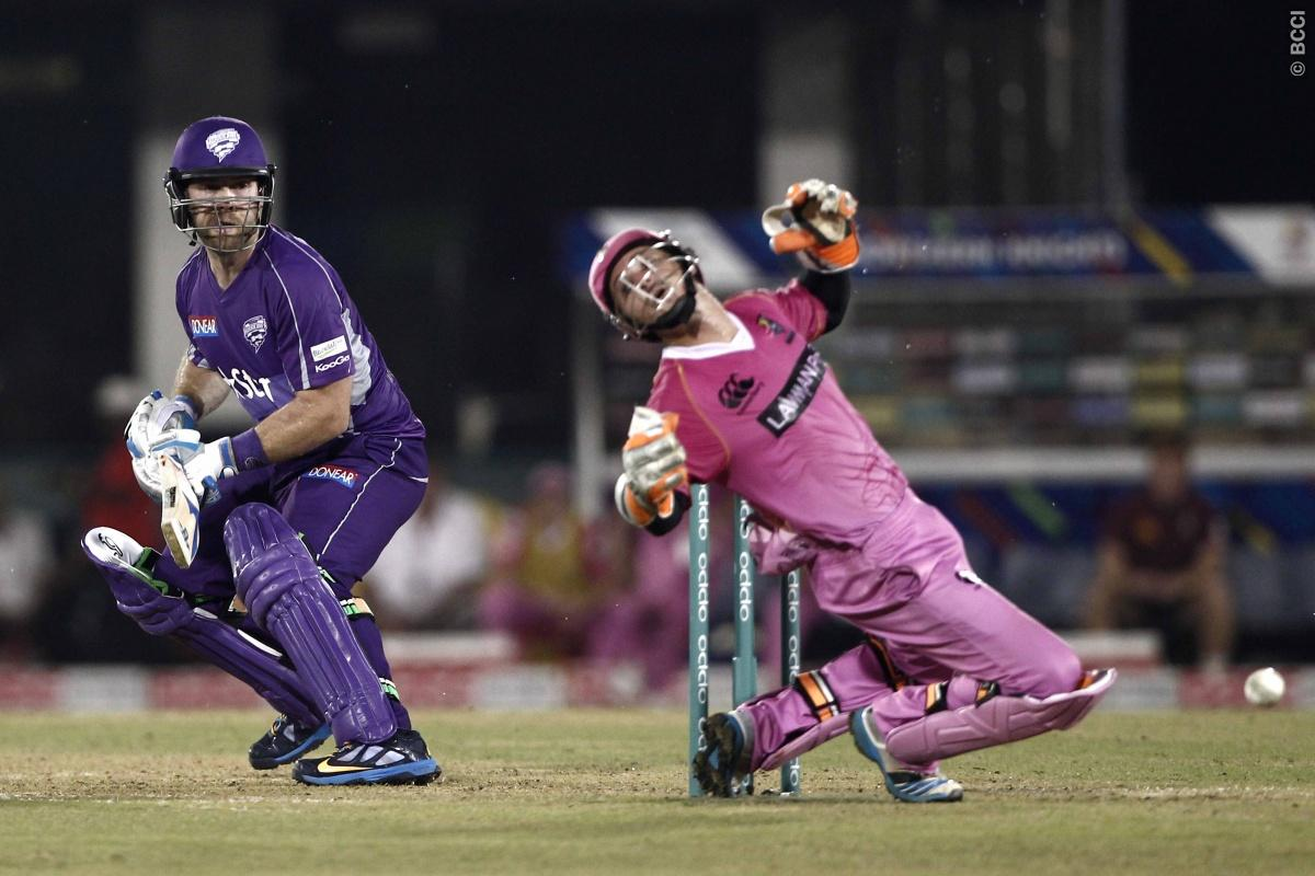 Aiden Blizzard of Hobart Hurricanes , BJ Watling of the NORTHERN KNIGHTS during match 9 of the Oppo Champions League Twenty20 between the Hobart Hurricanes and the Northern knights held at the Chhattisgarh International Cricket Stadium, Raipur, India on the 23rd September 2014  Photo by:  Deepak Malik / Sportzpics/ CLT20   Image use is subject to the terms and conditions as laid out by the BCCI/ CLT20.  The terms and conditions can be downloaded here:  http://sportzpics.photoshelter.com/gallery/