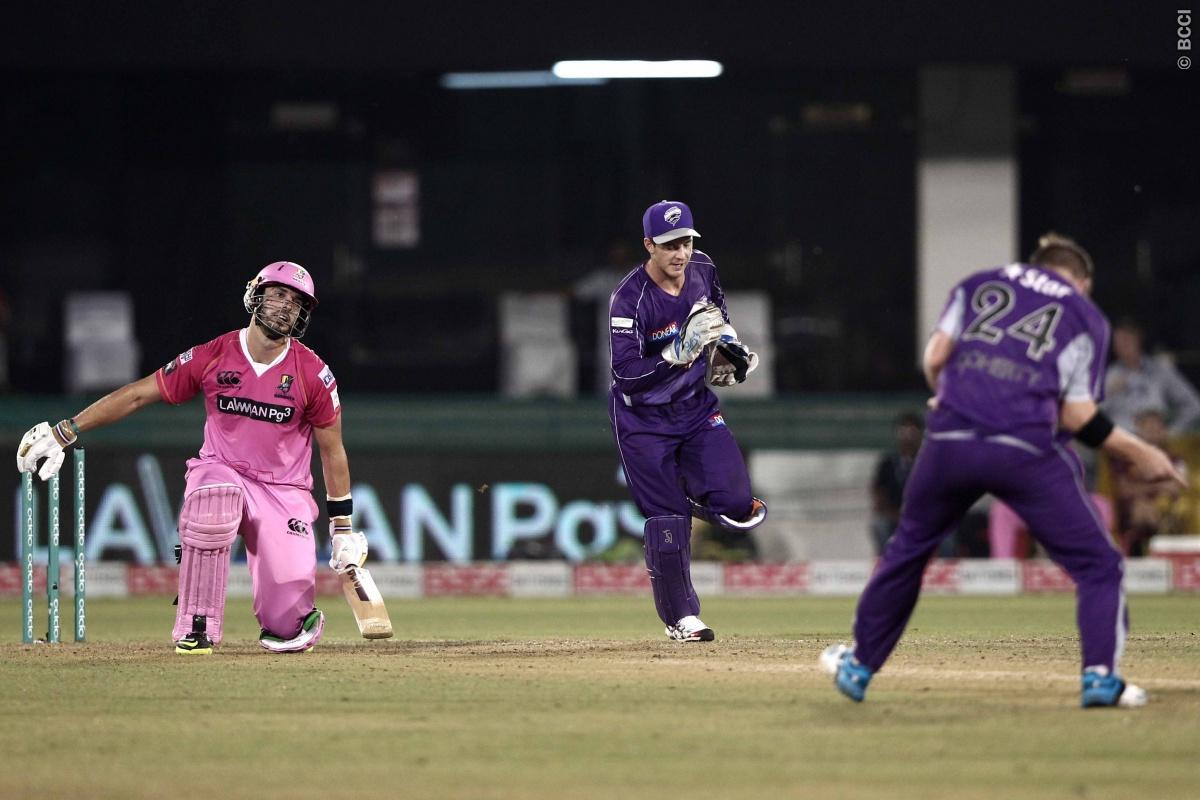 Tim Paine , Xavier Doherty of Hobart Hurricanes celebrates the wicket of  Daryl Mitchell of the NORTHERN KNIGHTS during match 9 of the Oppo Champions League Twenty20 between the Hobart Hurricanes and the Northern knights held at the Chhattisgarh International Cricket Stadium, Raipur, India on the 23rd September 2014  Photo by:  Deepak Malik / Sportzpics/ CLT20   Image use is subject to the terms and conditions as laid out by the BCCI/ CLT20.  The terms and conditions can be downloaded here:  htt