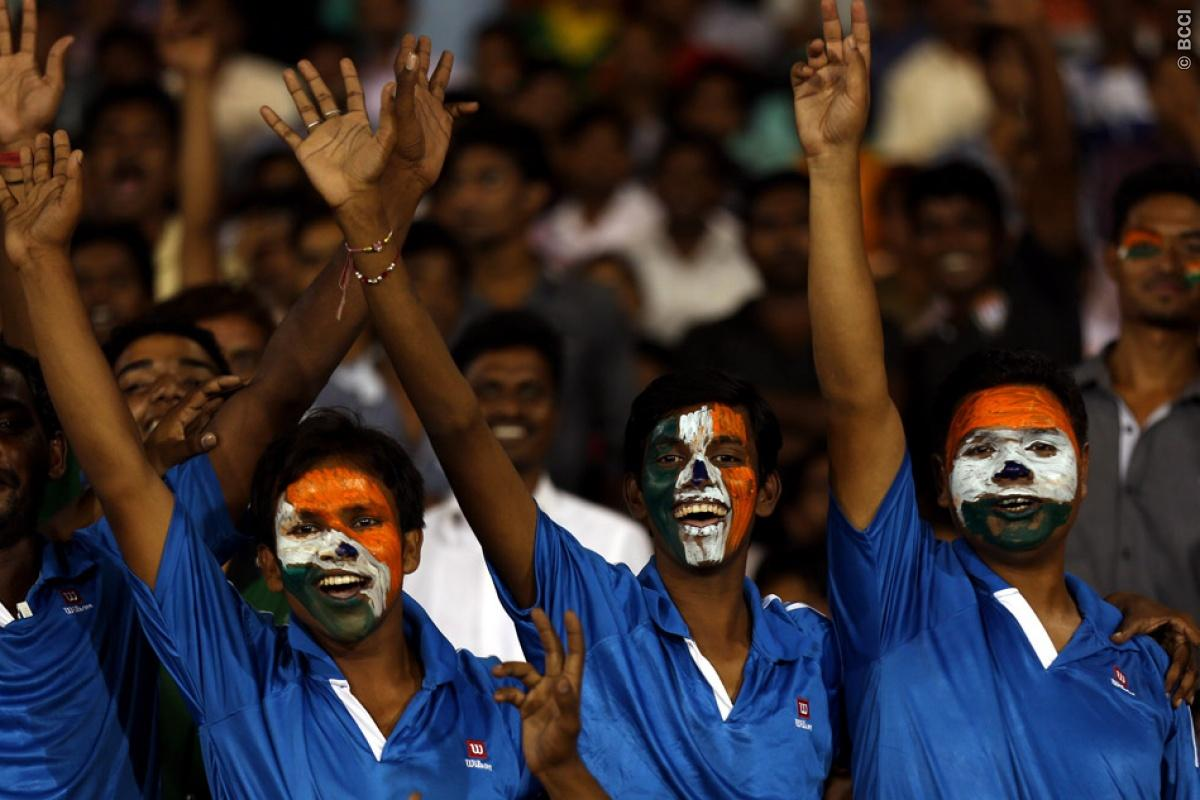 Fans Enjoys during match 9 of the Oppo Champions League Twenty20 between the Hobart Hurricanes and the Northern knights held at the Chhattisgarh International Cricket Stadium, Raipur, India on the 23rd September 2014  Photo by:  Sandeep Shetty / Sportzpics/ CLT20   Image use is subject to the terms and conditions as laid out by the BCCI/ CLT20.  The terms and conditions can be downloaded here:  http://sportzpics.photoshelter.com/gallery/CLT20-Image-Terms-and-Conditions-2014/G0000IfNJn535VPU/C000