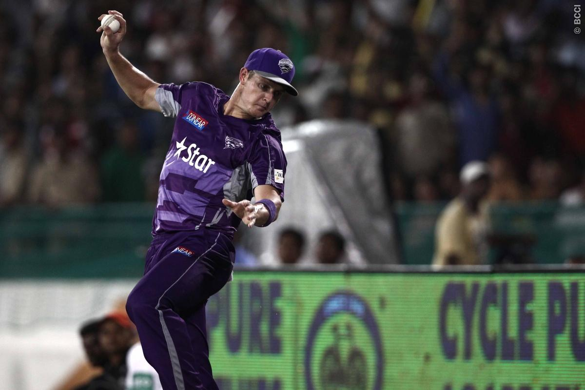 Joe Mennie of Hobart Hurricanes during match 9 of the Oppo Champions League Twenty20 between the Hobart Hurricanes and the Northern knights held at the Chhattisgarh International Cricket Stadium, Raipur, India on the 23rd September 2014  Photo by:  Deepak Malik / Sportzpics/ CLT20   Image use is subject to the terms and conditions as laid out by the BCCI/ CLT20.  The terms and conditions can be downloaded here:  http://sportzpics.photoshelter.com/gallery/CLT20-Image-Terms-and-Conditions-2014/G00