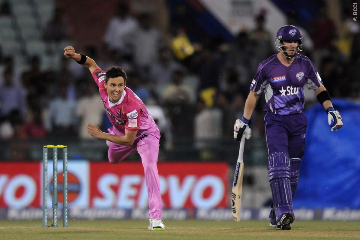 Trent Boult of Northern Knights bowls during match 9 of the Oppo Champions League Twenty20 between the Hobart Hurricanes and the Northern knights held at the Chhattisgarh International Cricket Stadium, Raipur, India on the 23rd September 2014  Photo by:  Pal Pillai / Sportzpics/ CLT20   Image use is subject to the terms and conditions as laid out by the BCCI/ CLT20.  The terms and conditions can be downloaded here:  http://sportzpics.photoshelter.com/gallery/CLT20-Image-Terms-and-Conditions-2014