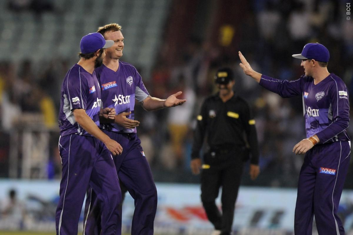 Doug Bollinger of Hobart Hurricanes celebrates the wicket of Ish Sodhi of Northern Knights during match 9 of the Oppo Champions League Twenty20 between the Hobart Hurricanes and the Northern knights held at the Chhattisgarh International Cricket Stadium, Raipur, India on the 23rd September 2014  Photo by:  Pal Pillai / Sportzpics/ CLT20   Image use is subject to the terms and conditions as laid out by the BCCI/ CLT20.  The terms and conditions can be downloaded here:  http://sportzpics.photoshe