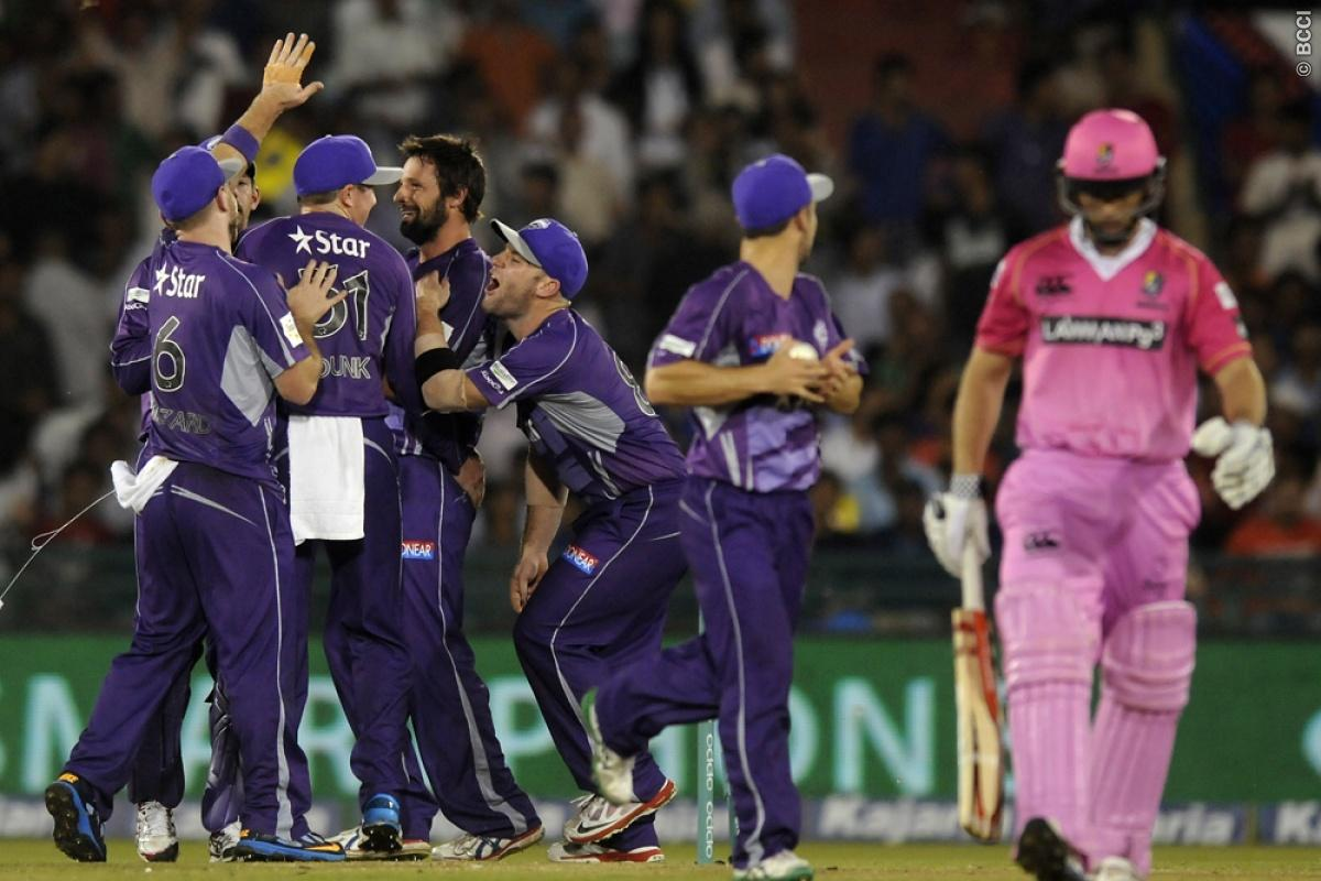 Ben Hilfenhaus of Hobart Hurricanes celebrates the wicket of  Daniel Flynn Captain of Northern Knights during match 9 of the Oppo Champions League Twenty20 between the Hobart Hurricanes and the Northern knights held at the Chhattisgarh International Cricket Stadium, Raipur, India on the 23rd September 2014  Photo by:  Pal Pillai / Sportzpics/ CLT20   Image use is subject to the terms and conditions as laid out by the BCCI/ CLT20.  The terms and conditions can be downloaded here:  http://sportzp