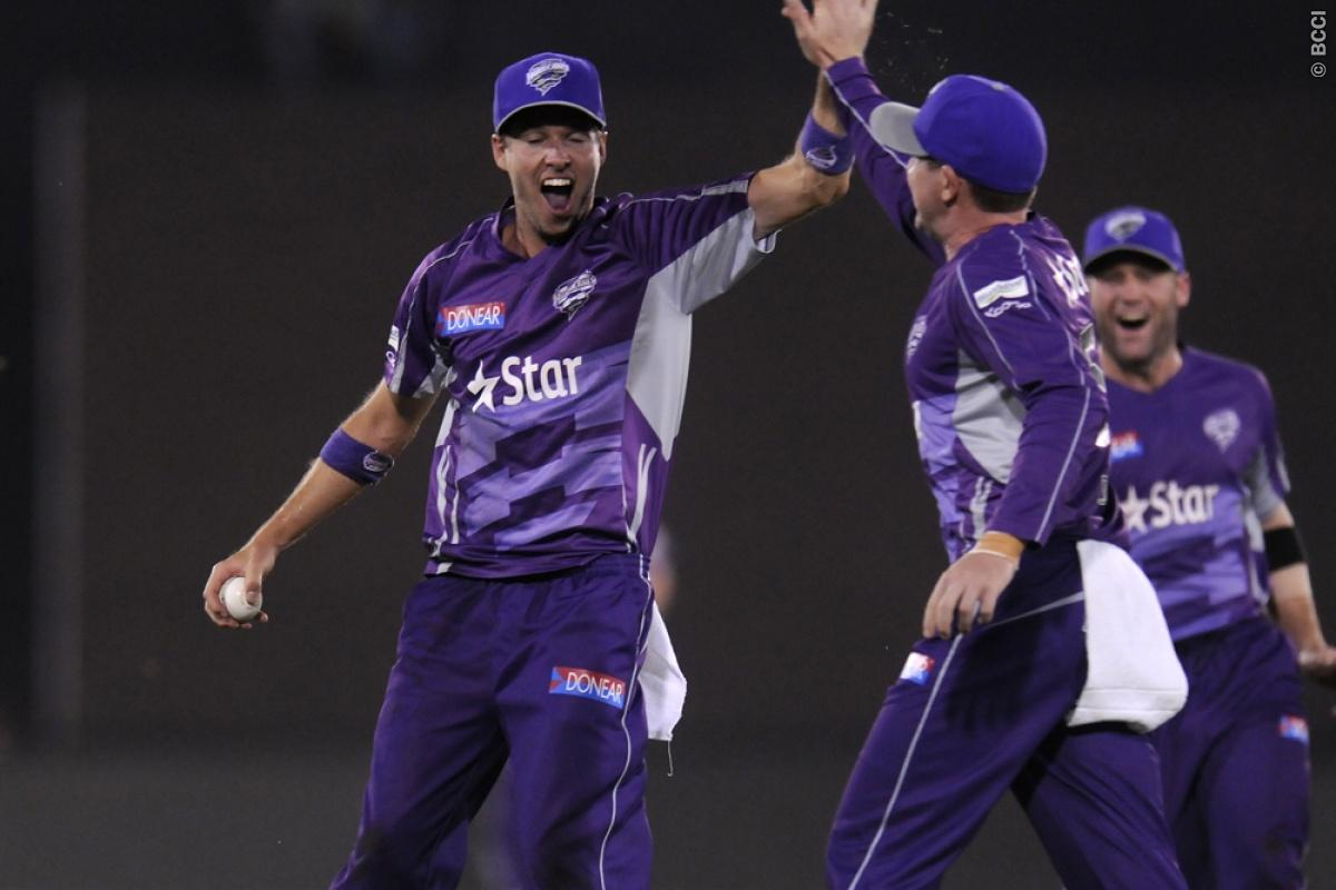 Ben Laughlin of Hobart Hurricanes celebrates the wicket of Anton Devcich of Northern Knights during match 9 of the Oppo Champions League Twenty20 between the Hobart Hurricanes and the Northern knights held at the Chhattisgarh International Cricket Stadium, Raipur, India on the 23rd September 2014  Photo by:  Pal Pillai / Sportzpics/ CLT20   Image use is subject to the terms and conditions as laid out by the BCCI/ CLT20.  The terms and conditions can be downloaded here:  http://sportzpics.photos