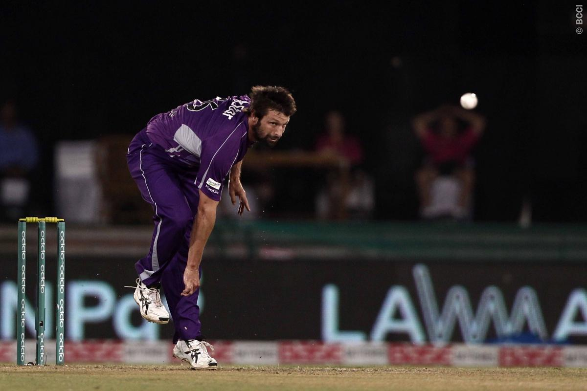 Ben Hilfenhaus of Hobart Hurricanes during match 9 of the Oppo Champions League Twenty20 between the Hobart Hurricanes and the Northern knights held at the Chhattisgarh International Cricket Stadium, Raipur, India on the 23rd September 2014  Photo by:  Deepak Malik / Sportzpics/ CLT20   Image use is subject to the terms and conditions as laid out by the BCCI/ CLT20.  The terms and conditions can be downloaded here:  http://sportzpics.photoshelter.com/gallery/CLT20-Image-Terms-and-Conditions-2014