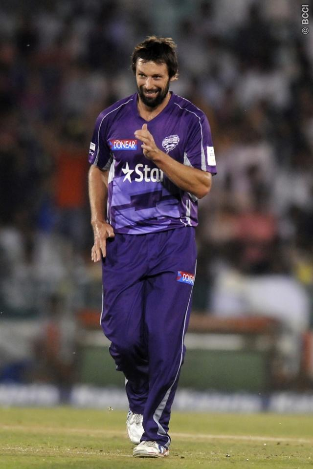 Ben Hilfenhaus of Hobart Hurricanes runs to celebrate the wicket of Kane Williamson of Northern Knights during match 9 of the Oppo Champions League Twenty20 between the Hobart Hurricanes and the Northern knights held at the Chhattisgarh International Cricket Stadium, Raipur, India on the 23rd September 2014  Photo by:  Pal Pillai / Sportzpics/ CLT20   Image use is subject to the terms and conditions as laid out by the BCCI/ CLT20.  The terms and conditions can be downloaded here:  http://sportz
